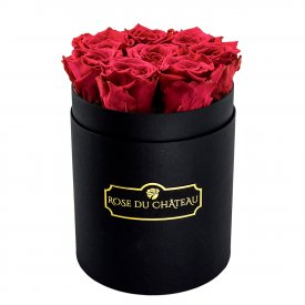 Rosafarbene Ewige Rosen in schwarzer Rosenbox Small