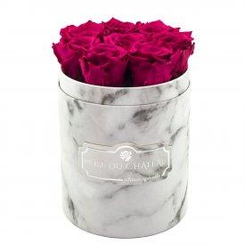 Rosafarbene Ewige Rosen in weißer marmorierter Rundbox Small