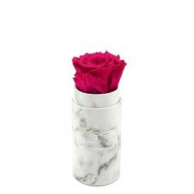 Rosafarbene Ewige Rose in weißer marmorierter Mini Rosenbox