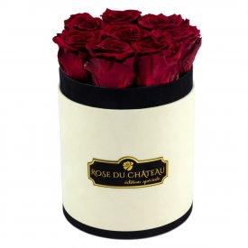 Rote Ewige Rosen in Coco Beflockter Rosenbox Small
