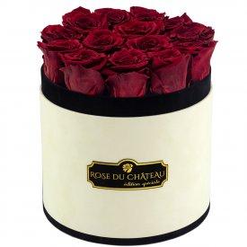 Rote Ewige Rosen in Coco Beflockter Rosenbox