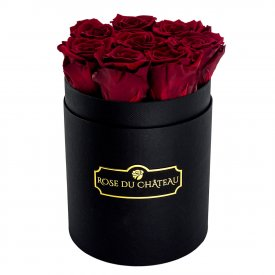 Rote Ewige Rosen in schwarzer Rosenbox Small