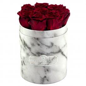 Rote Ewige Rosen in weißer marmorierter Rundbox Small