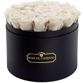 Weiße Ewige Rosen in schwarzer Rosenbox Large