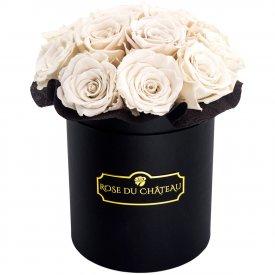 Weisse Ewige Rosen Bouquet in schwarzer Rosenbox