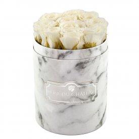 Weiße Ewige Rosen in weißer marmorierter Rundbox Small