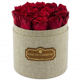 Rote Ewige Rosen in leinen Rosenbox