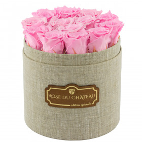 Zartrosafarbene Ewige Rosen in leinen Rosenbox