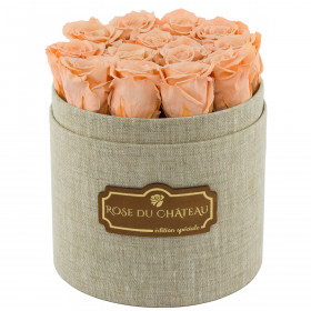 Teefarbene Ewige Rosen in leinen Rosenbox