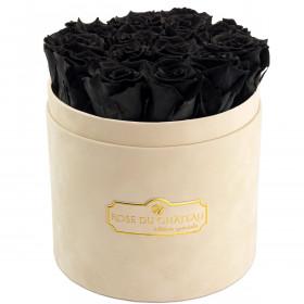 Schwarze Ewige Rosen in beigefarbiger Beflockter Rosenbox