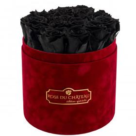 Schwarze Ewige Rosen in bordeauxroter Beflockter Rosenbox