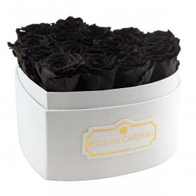 Schwarze Ewige Rosen in weißer Herzbox