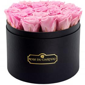 Zartorosafarbene Ewige Rosen in schwarzer Rosenbox Large