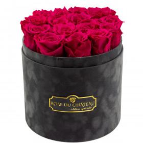 Rosafarbene Ewige Rosen in anthrazitfarbener Beflockter Rosenbox