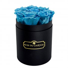 Eternity Azure Roses & Small Black Flowerbox