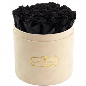 Eternity Black Roses & Beige Flocked Flowerbox