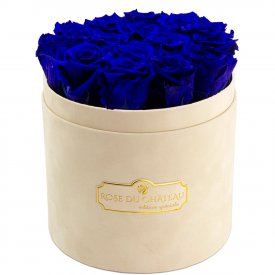 Eternity Blue Roses & Beige Flocked Flowerbox