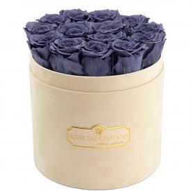 Eternity Grey Roses & Beige Flocked Flowerbox