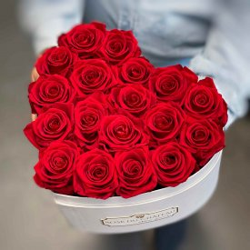 Eternity Red Roses & Heart-Shaped White Box