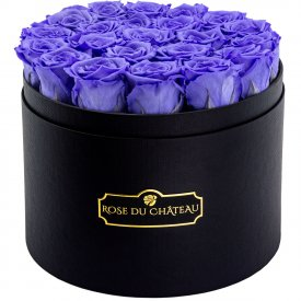 Eternity Lavender Roses & Large Black Flowerbox