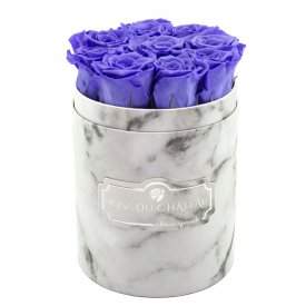 Eternity Lavender Roses & Small White Marble Flowerbox