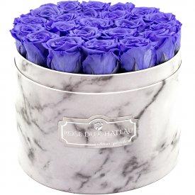 Eternity Lavender Roses & Large White Marble Flowerbox