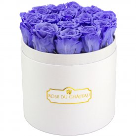 Eternity Lavender Roses & Round White Flowerbox