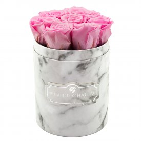 Eternity Pale Pink Roses & Small White Marble Flowerbox
