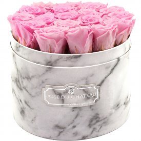 Eternity Pale Pink Roses & Large White Marble Flowerbox