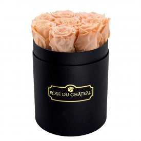Eternity Peach Roses & Small Black Flowerbox