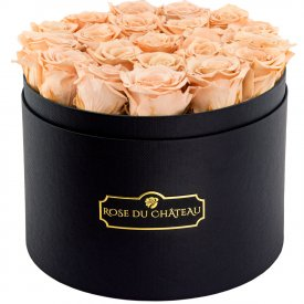 Eternity Peach Roses & Large Black Flowerbox