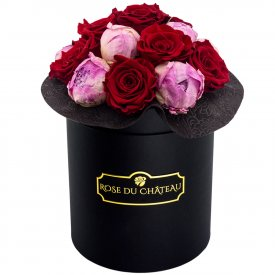 Pinky Red Eternity Bouquet & Black Flowerbox