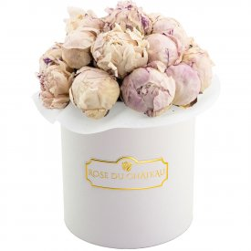 Lovely Peonies Bouquet & White Flowerbox