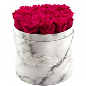 Eternity Pink Roses & White Marble Flowerbox