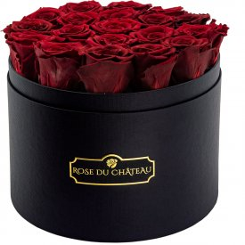 Eternity Red Roses & Large Black Flowerbox