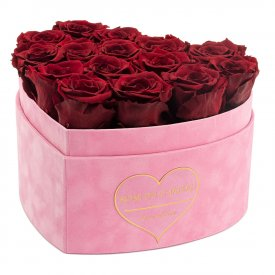 Eternity Red Roses & Pink Heart-Shaped Flocked Box - LOVE EDITION