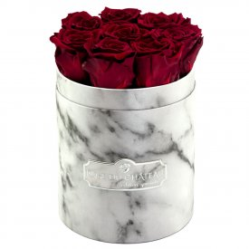 Eternity Red Roses & Small White Marble Flowerbox