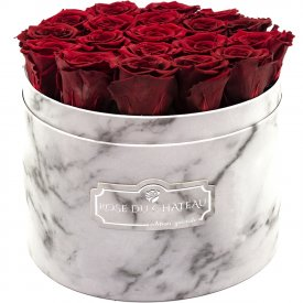 Eternity Red Roses & Large White Marble Flowerbox