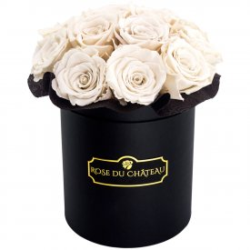 Eternity White Roses & Black Bouquet Flowerbox