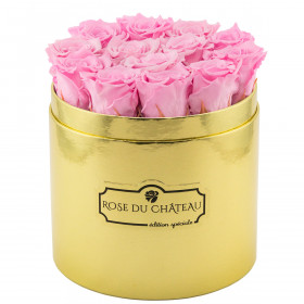 Eternity Pale Pink Roses & Golden Flowerbox