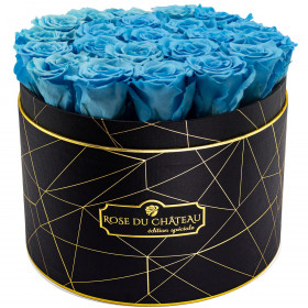 Eternity Azure Roses & Large Black Industrial Flowerbox