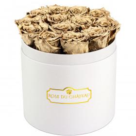 Eternity Golden Roses & Round White Flowerbox