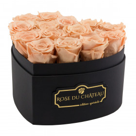 Eternity Peach Roses & Heart-Shaped Black Box