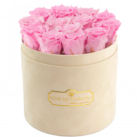 Eternity Pale Pink Roses & Beige Flocked Flowerbox