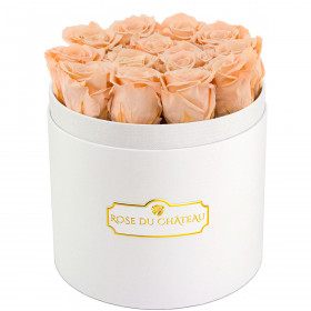 Eternity Peach Roses & Round White Flowerbox