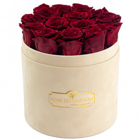 Eternity Red Roses & Beige Flocked Flowerbox