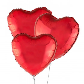 Three Heart-Shaped Red Balloons 46 cm