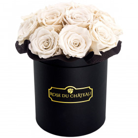 Eternity White Roses & Black Bouquet Flowerbox