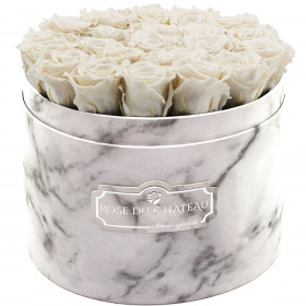 Eternity White Roses & Large White Marble Flowerbox