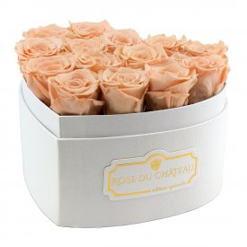 "Roses Éternelles Herbées en Boîte ""Heart"" Blanche"